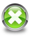 Cancel icon glossy green round button Stock Photos
