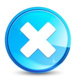 Cancel icon splash natural blue round button. Cancel icon isolated on splash natural blue round button abstract illustration vector illustration