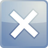 Cancel navigation icon. Glossy button, square shape Royalty Free Stock Image