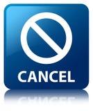 Cancel (prohibition sign icon) blue square button Stock Photo