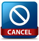 Cancel (prohibition sign icon) blue square button red ribbon in Stock Photos