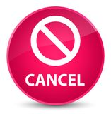 Cancel (prohibition sign icon) elegant pink round button Royalty Free Stock Photography