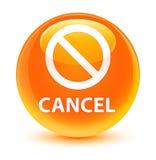 Cancel (prohibition sign icon) glassy orange round button Stock Photography