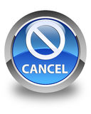 Cancel (prohibition sign icon) glossy blue round button Stock Photo