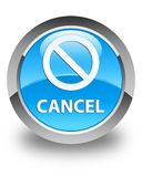 Cancel (prohibition sign icon) glossy cyan blue round button Stock Photos