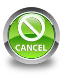 Cancel (prohibition sign icon) glossy green round button Stock Photos