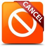 Cancel (prohibition sign icon) orange square button red ribbon i Royalty Free Stock Photo