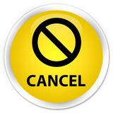 Cancel (prohibition sign icon) premium yellow round button Stock Images