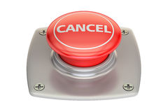 Cancel red button, 3D rendering. On white background Royalty Free Stock Images