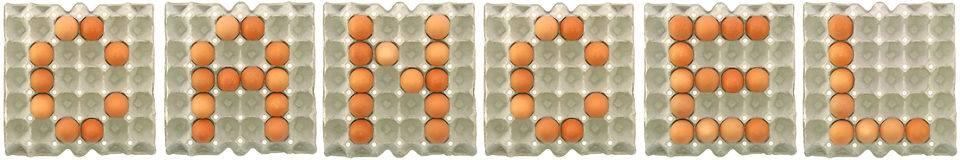 CANCEL word from eggs in paper tray. For food or nutrition concept royalty free stock images