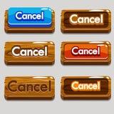 CANCELACIÓN de madera de los botones de la historieta para el juego Imagen de archivo libre de regalías
