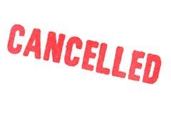 CANCELADO - carimbo de borracha vermelho no fundo branco fotografia de stock royalty free