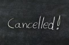 Cancelado en la pizarra Fotos de archivo libres de regalías