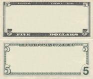 Cancele o teste padrão da nota de banco de 5 dólares Fotos de Stock Royalty Free