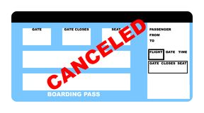 Canceled Airline ticket Stock Images