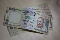 Canceled currency 500 notes in India. The India goverment annouced canceled currency 500 notes on 13 October 2016 Stock Images
