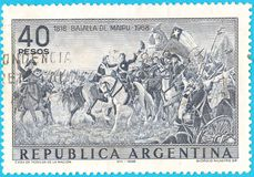 Canceled postage stamp depicting Battle of Maipu near Santiago, Chile on April 5, 1818 between South American rebels and Spanish r. Oyalists. From picture royalty free stock photography