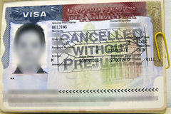 Canceled VISA of US. US VISA with stamp of CANCELED WITHOUT PREJUDICE royalty free stock image