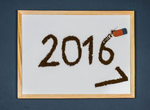 Cancellazione del 2016, cartolina d'auguri del buon anno 2017 Fotografia Stock