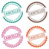 Cancelled badge isolated on white background. Flat style round label with text. Circular emblem vector illustration Stock Photography