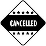 CANCELLED on black diamond shaped sticker label. Stock Photo
