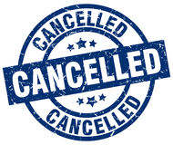 Cancelled blue round stamp Royalty Free Stock Photos
