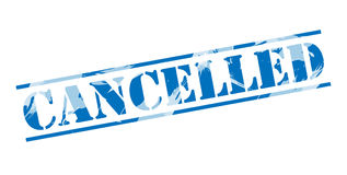 Cancelled Blue stamp Stock Photography