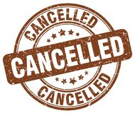 Cancelled brown grunge round vintage stamp Royalty Free Stock Image