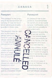 Cancelled Canadian passport. Page one of canadian passport stamped cancelled annule Royalty Free Stock Photo