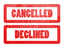 Cancelled and declined text sign label stamp. Royalty Free Stock Image