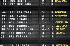 Cancelled flight from Brussels to Dublin. Display that shows a cancelled flight to Dublin from the Brussels International Airport due to the volcanic activity Royalty Free Stock Photography