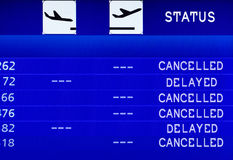 Cancelled Flight. Information board. Royalty Free Stock Images