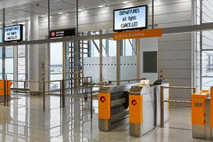 Cancelled flights. Empty airport boarding gate desk during period with cancelled flighhts Royalty Free Stock Photo