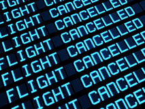 Cancelled Flights Departures Board. Departures board at airport terminal showing cancelled flights because of strike. Travel unforeseen concept, 3d rendering Stock Photos