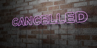CANCELLED - Glowing Neon Sign on stonework wall - 3D rendered royalty free stock illustration Stock Photo