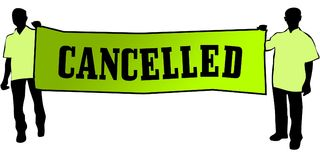 CANCELLED on a green banner carried by two men. Illustration graphic Stock Images
