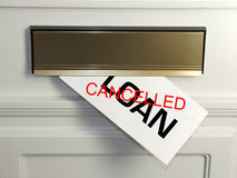 Cancelled loan. An unwelcome surprise - a loan foreclosure arrives in the mail royalty free stock images