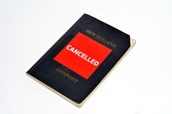 Cancelled New Zealand passport Stock Photos