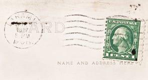 Cancelled One Cent Stamp. 1917 one cent stamp cancelled in Laramie, Wyoming, USA Stock Photos