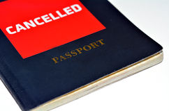 Cancelled Passport. Isolated on white background. Concept photo of human identity and Freedom of Movement Royalty Free Stock Photo