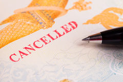 Cancelled Passport. Cancelled sign stamped on Passport Royalty Free Stock Photography