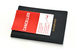 Cancelled Passport. On white background. Concept photo of human identity and Freedom of Movement Stock Images
