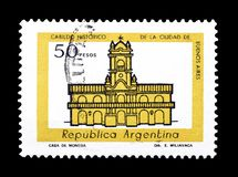 Cancelled postage stamp printed by Argentina. That shows Cabildo building in Buenos Aires, circa 1979 stock images