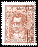 Cancelled postage stamp printed by Argentina. That shows Mariano Moreno, circa 1935 royalty free stock photo