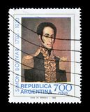 Cancelled postage stamp printed by Argentina. That shows Simon Bolivar, circa 1980 stock photos