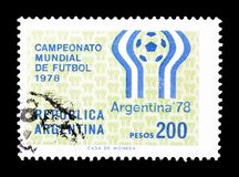 Cancelled postage stamp printed by Argentina. That shows Football, circa 1978 stock image