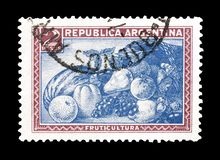 Cancelled postage stamp printed by Argentina. That shows Fruit, circa 1936 royalty free stock photos