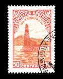 Cancelled postage stamp printed by Argentina. That shows Oil Well, circa 1936 stock photo