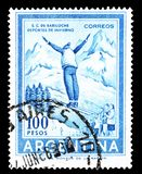 Cancelled postage stamp printed by Argentina. That shows Ski jump, circa 1961 royalty free stock photos