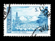 Cancelled postage stamp printed by Argentina. That shows Tierra del Fuego, circa 1960 stock photos